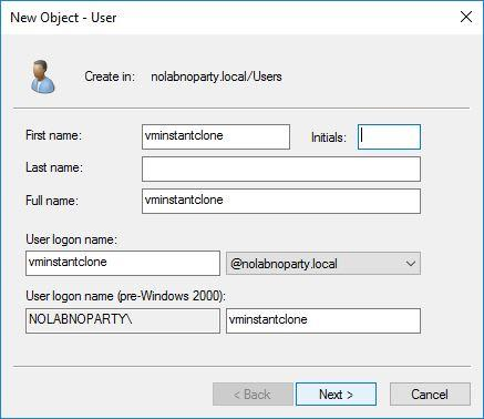 Creation of the Active Directory service account