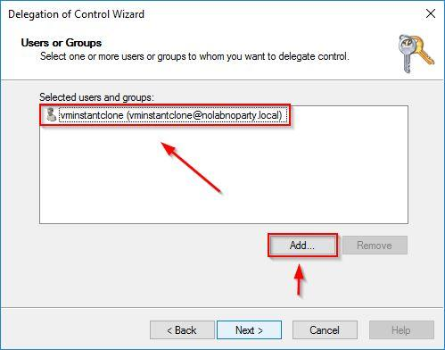 Add and select the previously create User