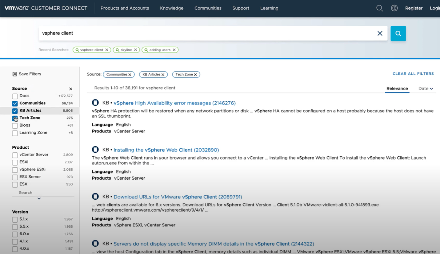 VMware Customer Connect - the search result