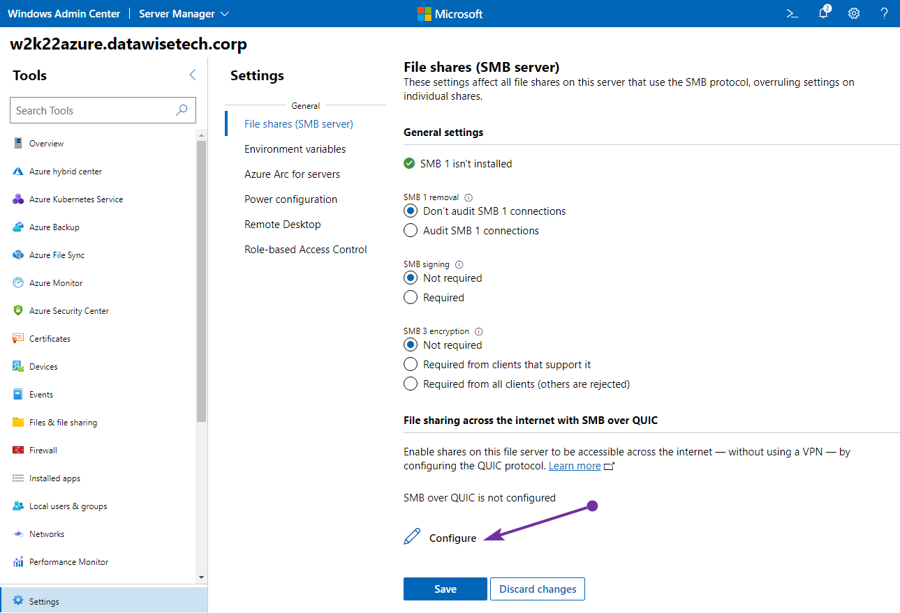 Figure 2: Configuring SMB over QUIC is straightforward in Windows Admin Center.