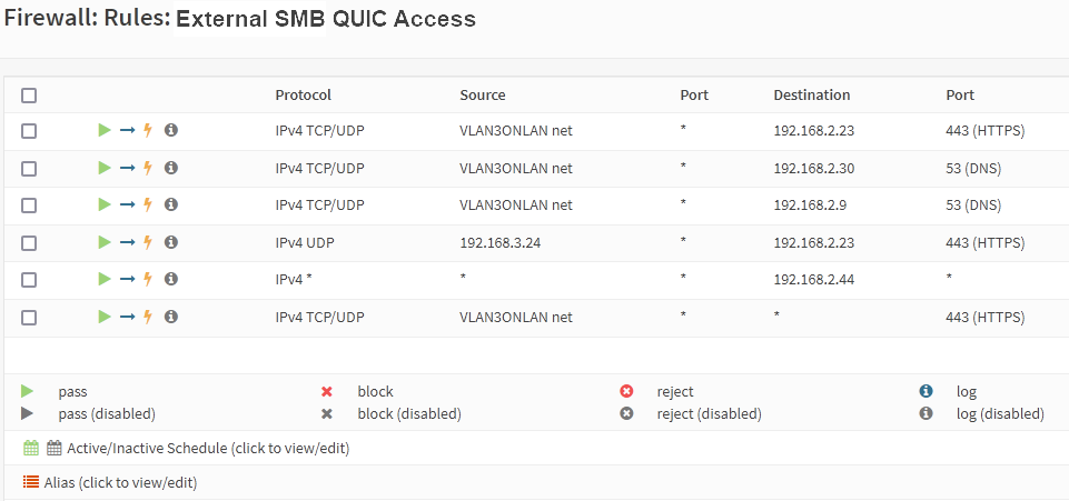 Figure 5: Configure your firewall rules to allow for QUIC