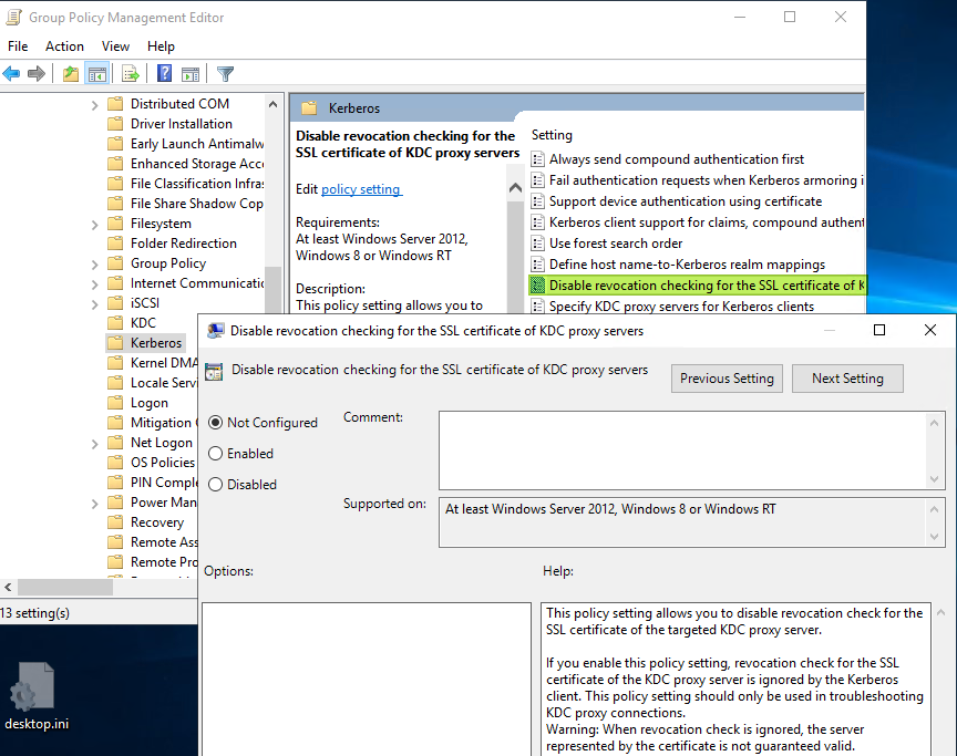 Figure 10:Not recommended disabling the KDC Proxy certificate revocation check.