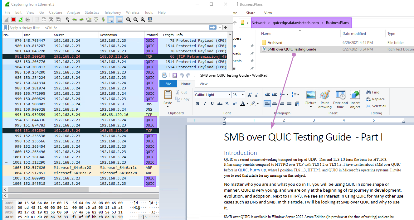 Figure 13: We have access to our file shares outside the corporate network via SMB over QUIC.