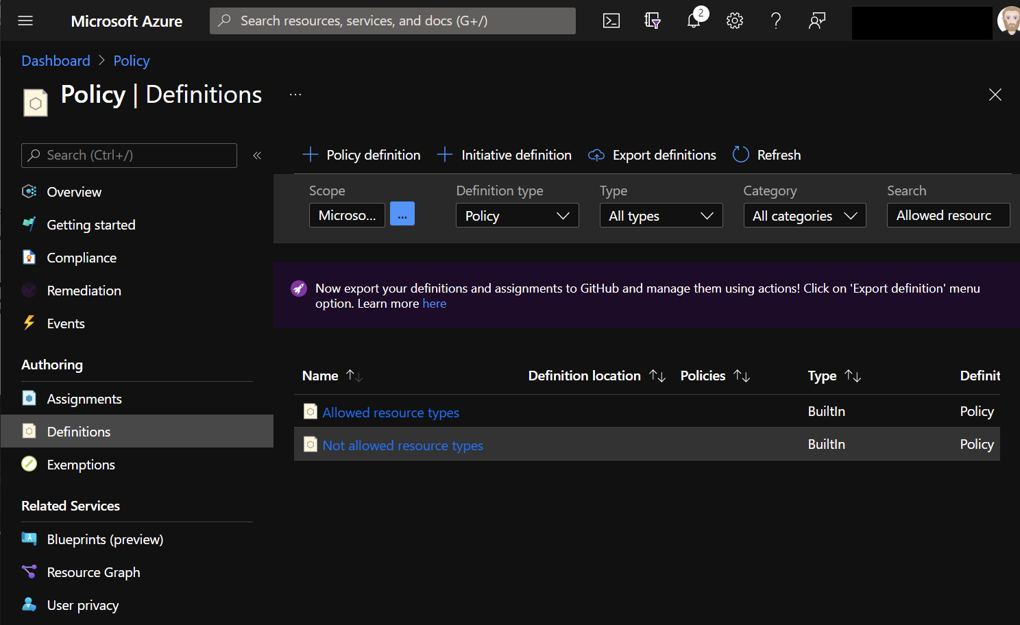 Azure Portal - Policy - Allowed Resources