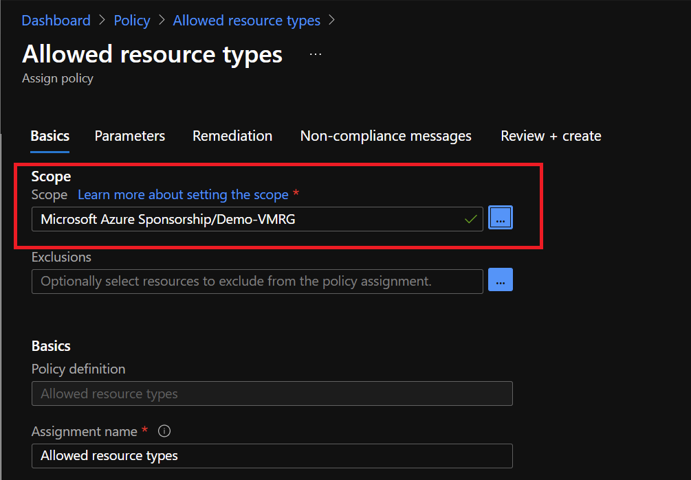 Azure Portal - Policy - Allowed Resource Types - Scope
