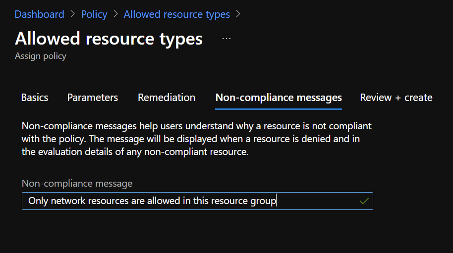 Azure Portal - Policy - Allowed Resource Types - Non-Compliance Messages