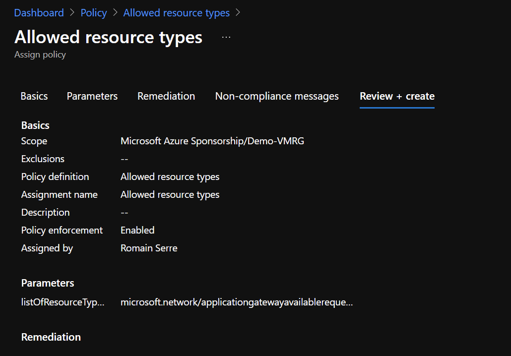Azure Portal - Policy - Allowed Resource Types - Review and Create