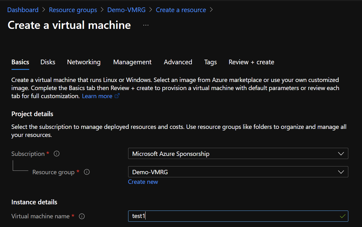 Microsoft Azure - Creation of a VM in the resource group with a tenant owner