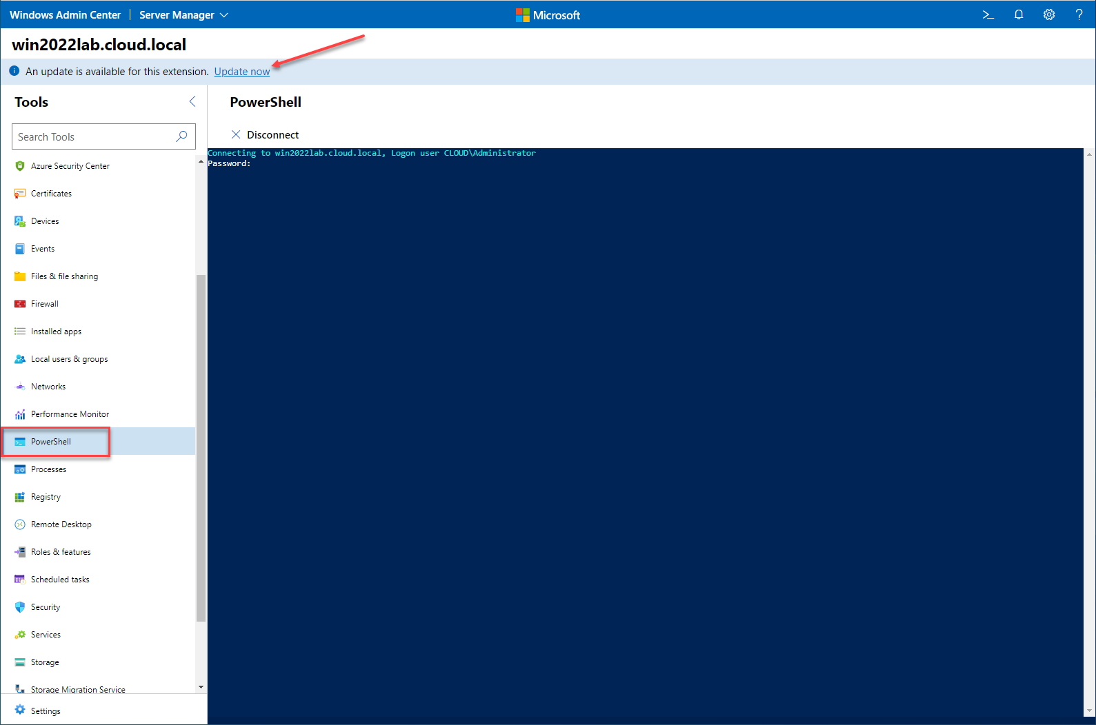 Access a remote PowerShell prompt with Windows Admin Center