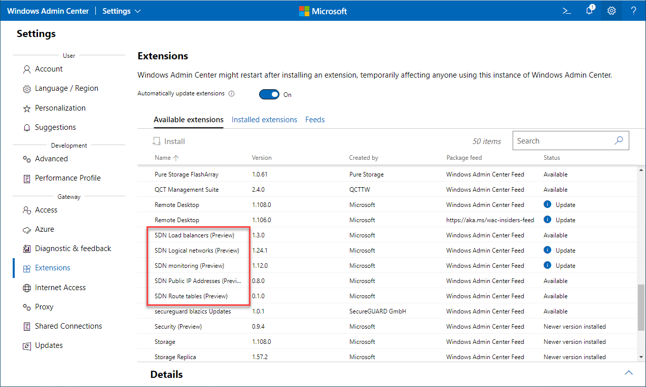 SDN extensions available in Windows Admin Center for Managing Windows Server 2022