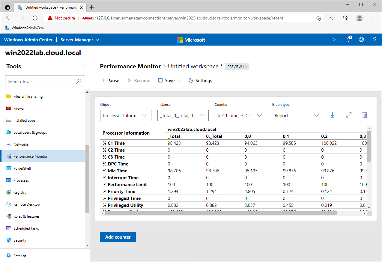 Using the new Performance Monitor in Windows Admin Center