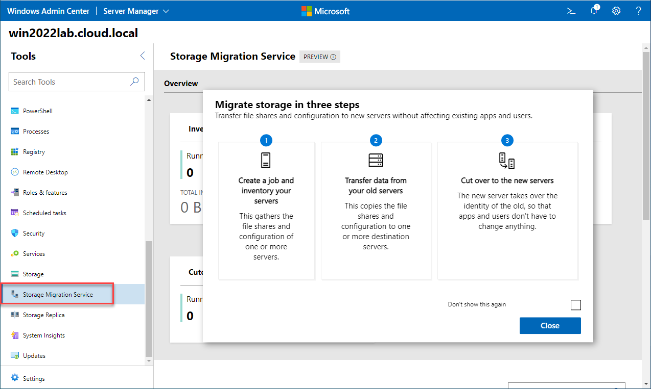 Storage Migration Service dashboard available in Windows Admin Center