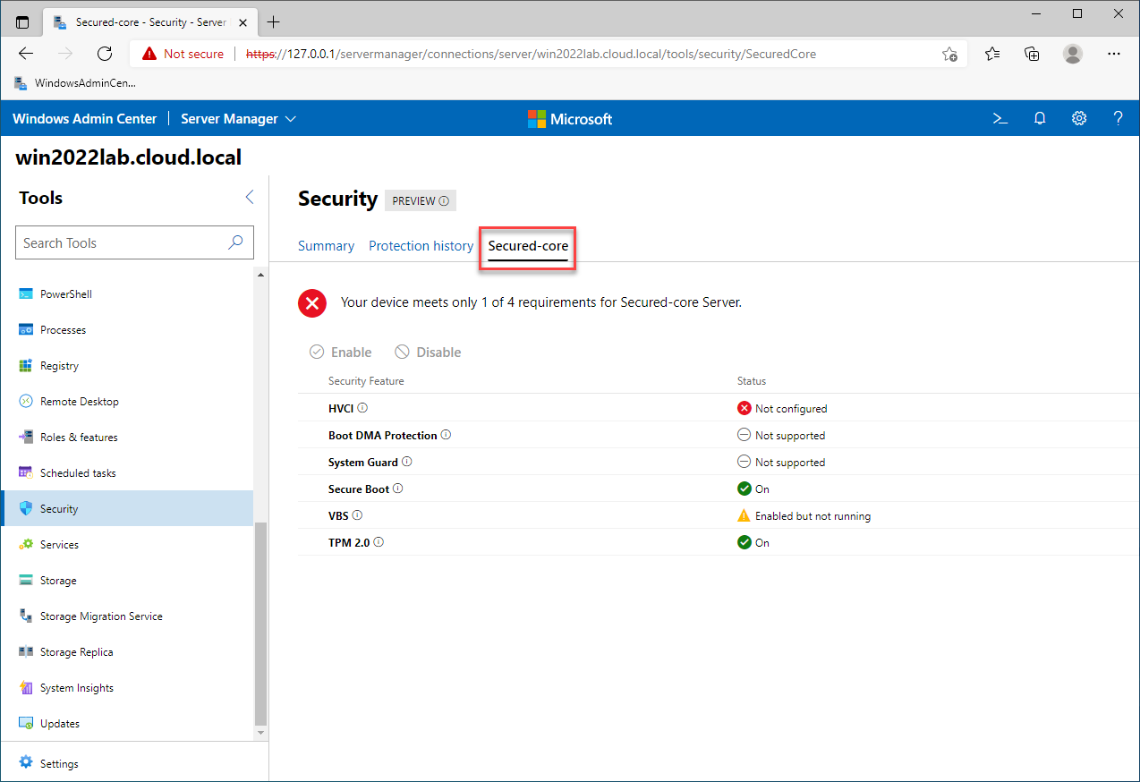 Viewing the Secured-core configuration in Windows Server 2022 with Windows Admin Center