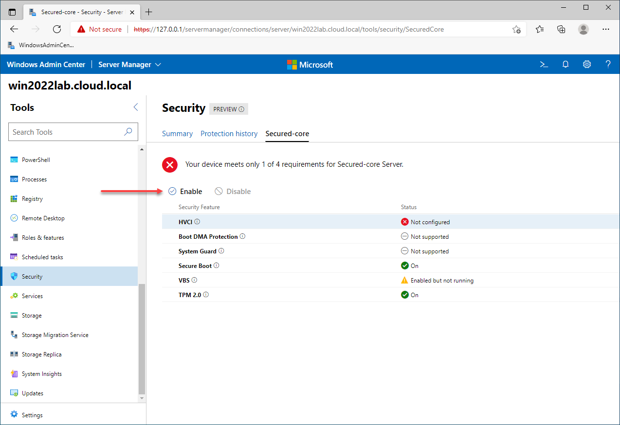 Enable missing Secured-core configuration in one click with Windows Admin Center
