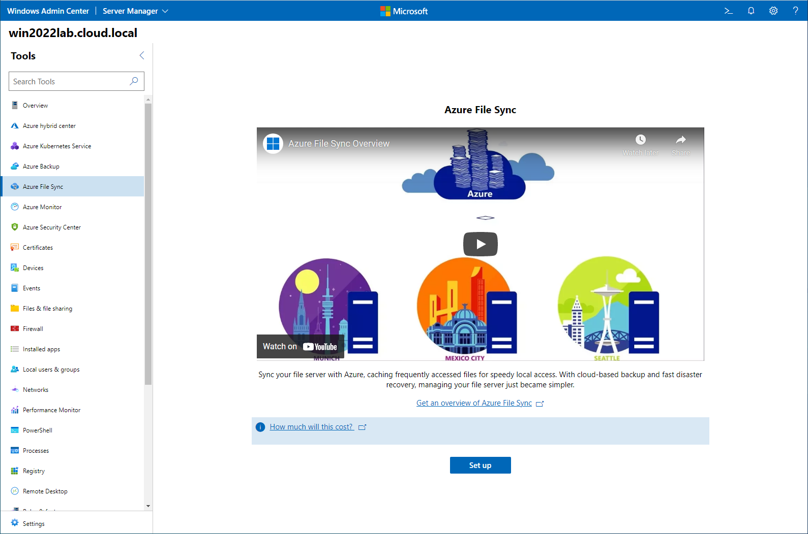 Azure File Sync available in Windows Admin Center