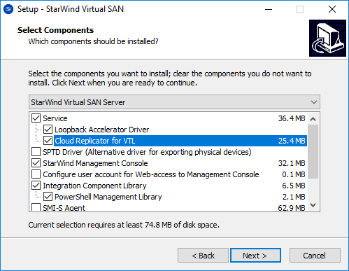 Installing StarWind VTL - Select Components