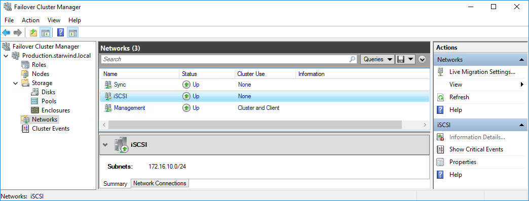 Failover Cluster networks iscsi