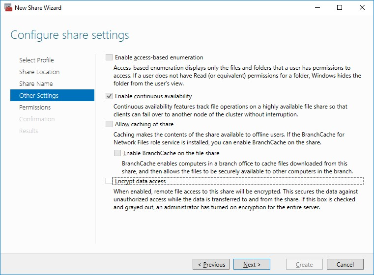 Configuring share settings