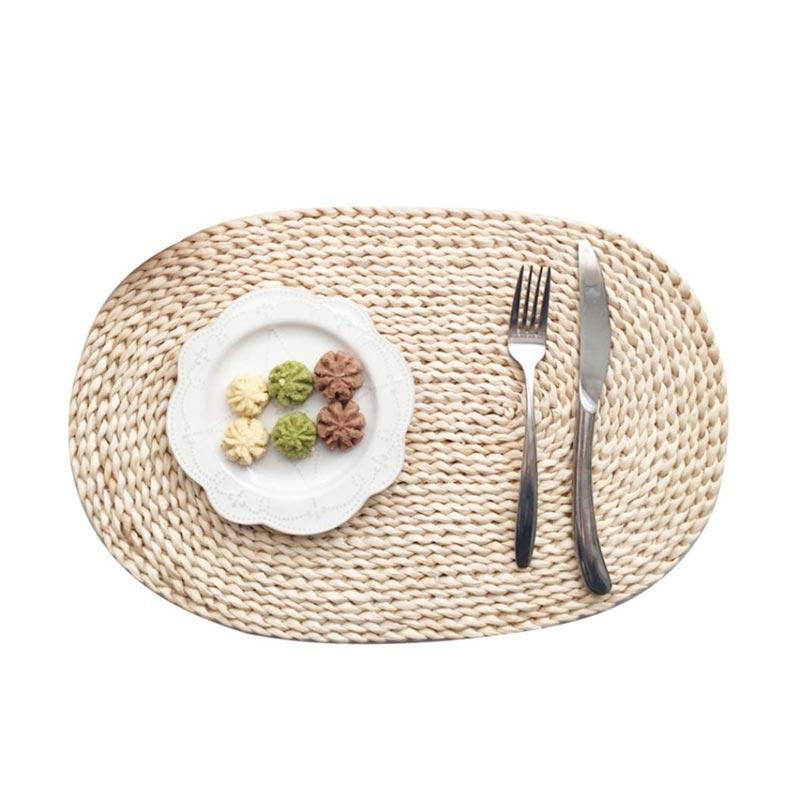 Jual Bluelans Rattan Weave Round Oval Placemat Dining Table Heat