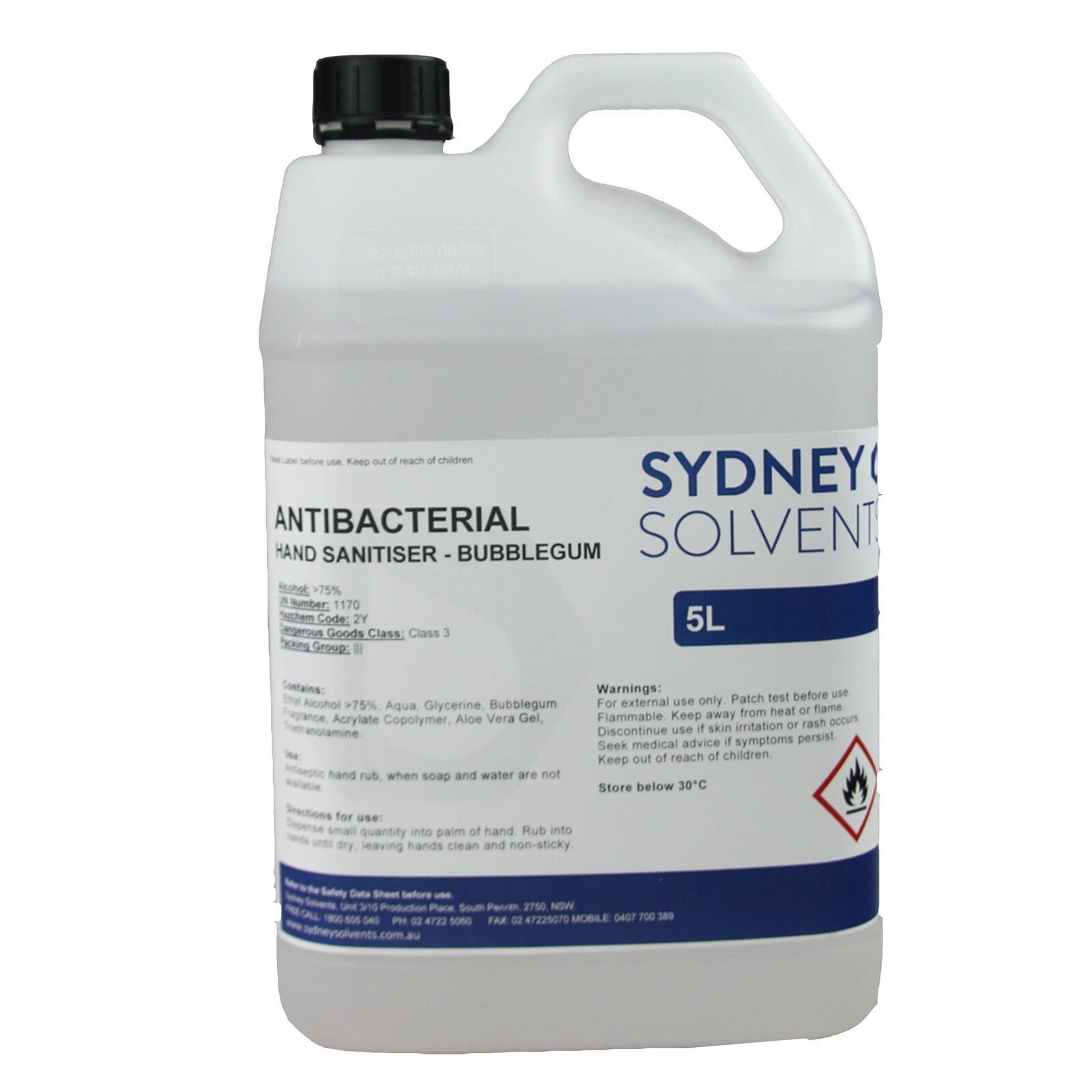 Antibacterial Instant Hand Sanitiser 5 Litre Sydney Solvents Free