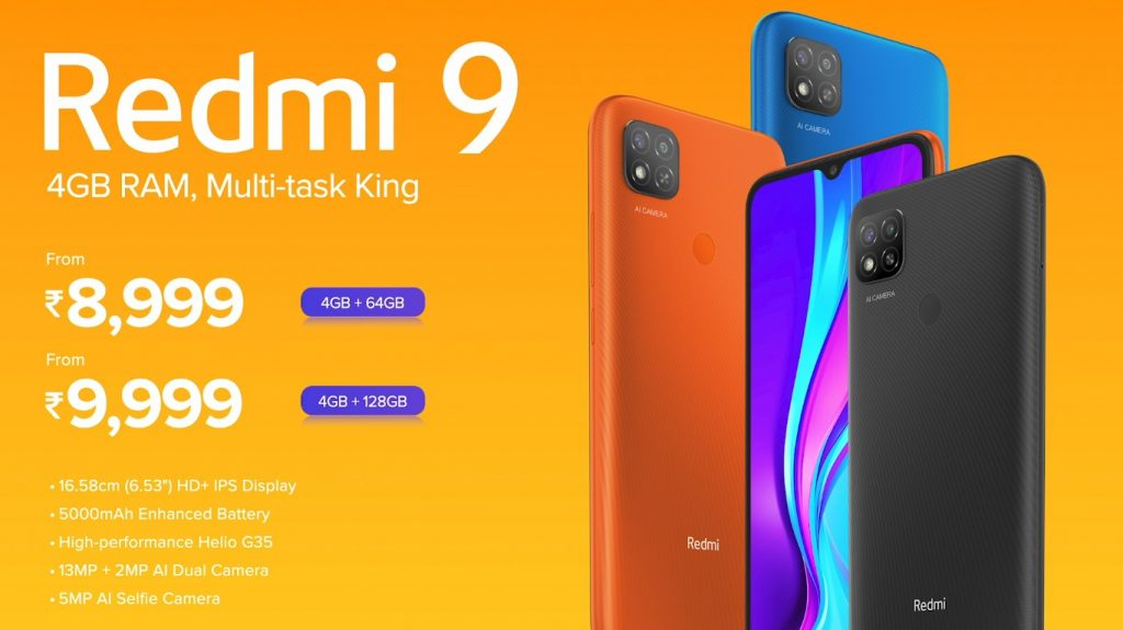 Redmi 9 is priced at Rs 8,999 in India