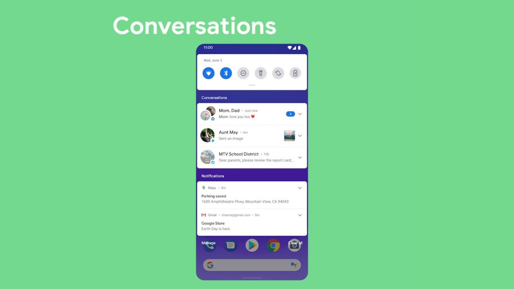 Conversation in Notification Shade on Android 11