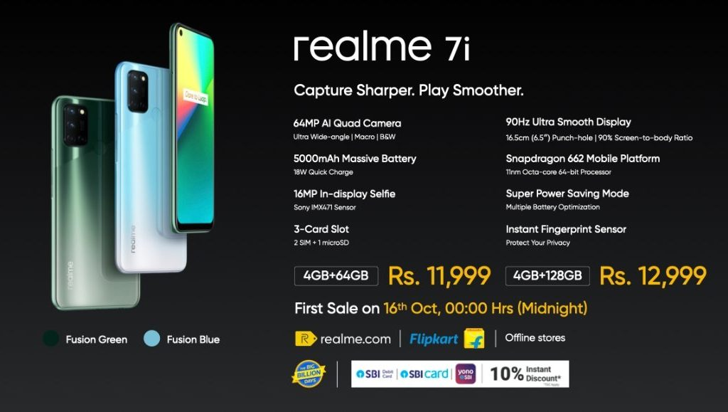 Realme 7i is priced at Rs 11,999
