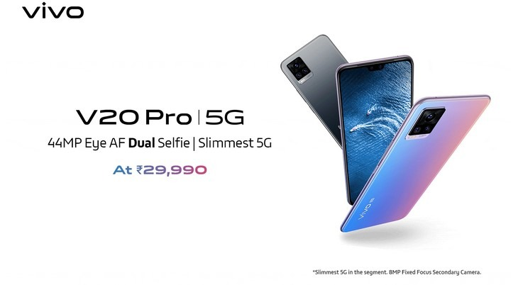 Vivo V20 Pro with Dual Front Camera Launched in India, starts at Rs.29,990