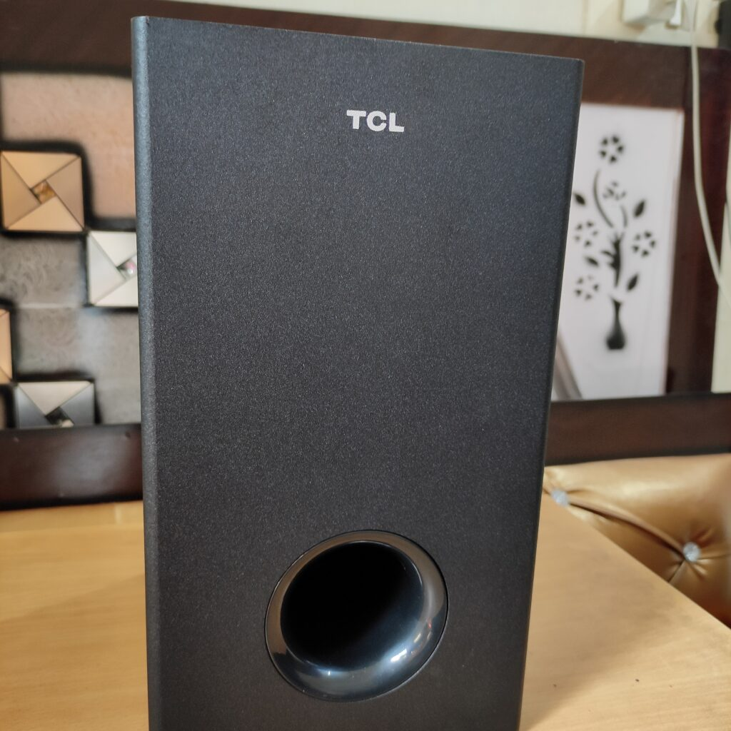 TCL SubWoofer looks like a wooden frame