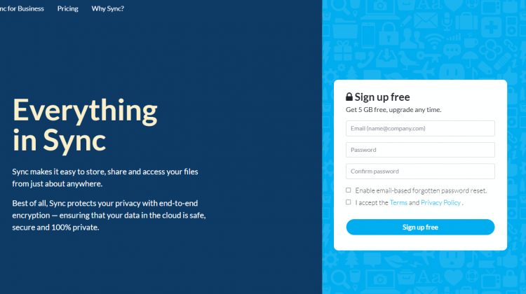 With sync.com get 5GB of free cloud storage on signing up