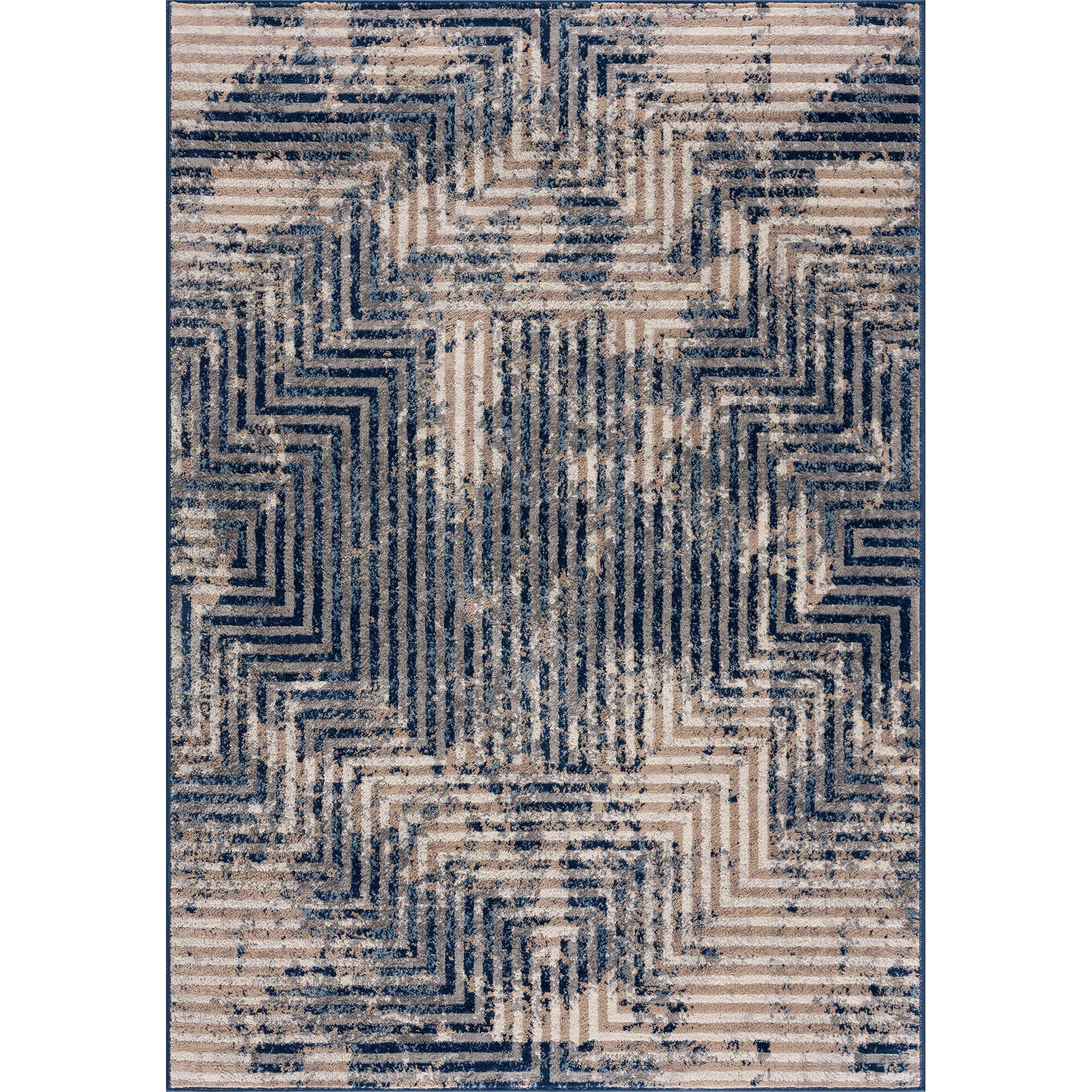Living Room Rug Abstract Design In Blue