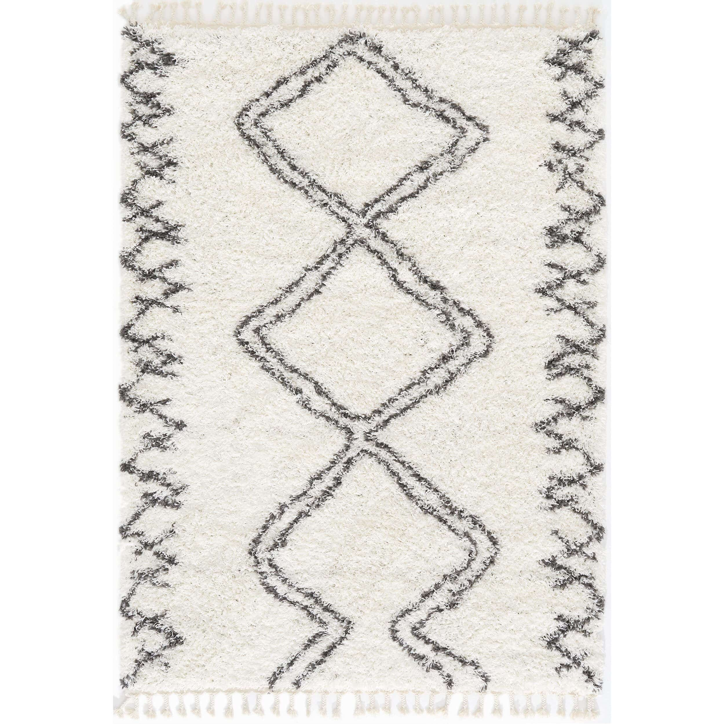 White Moroccan Berber Shaggy Rug for Living Room