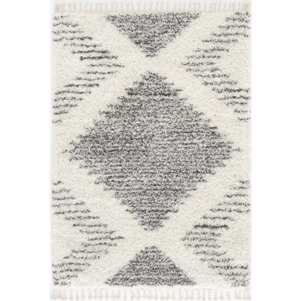 White Moroccan Shaggy Rug for Living Room