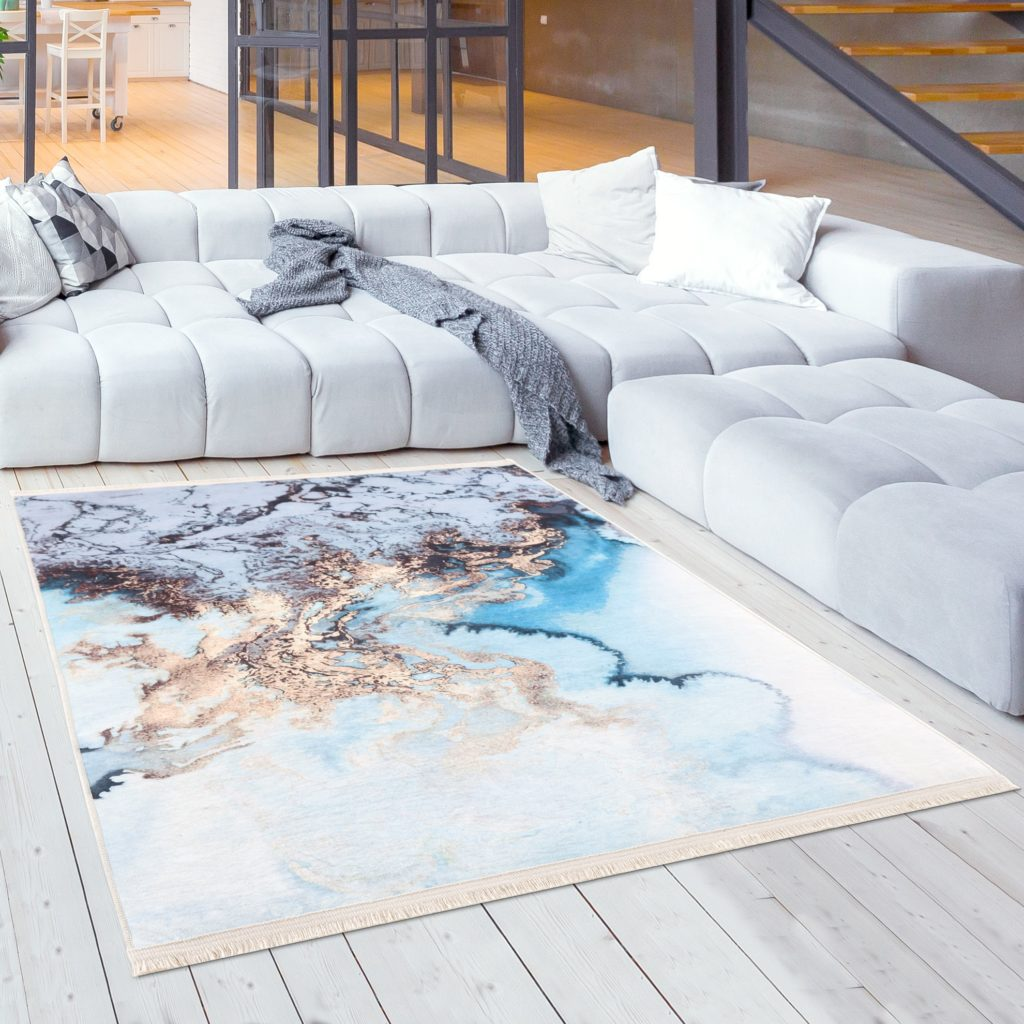 Caimas Collection Washable Rugs in Blue   6000