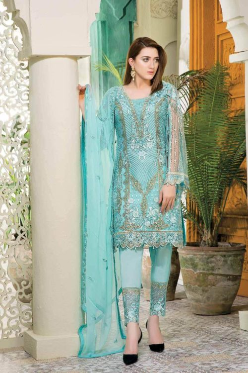 Ramsha Embroidered Pakistani Chiffon Salwar Kameez – Volume 12 Pakistani Suits & Dresses - Unstitched Dress Material Chiffon Dupatta Salwar Suit
