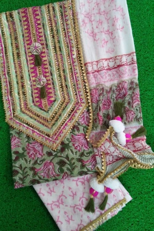 Gota Embroidered Block Printed Salwar Suits *Hot on Sale* Best Sellers