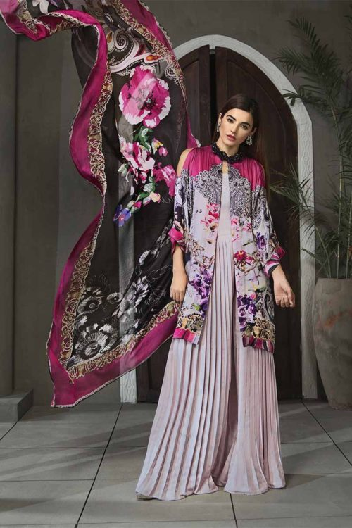 Gul Ahmed Lamis Digital Charmeuse Silk Collection 2018 – Ash Grey Paisley Plush DGT-80 Gul Ahmed best pakistani suits collection