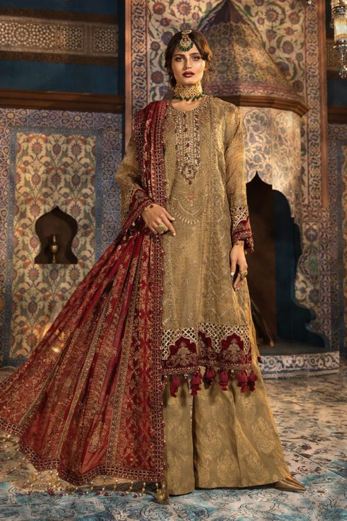 MARIA.B. Mbroidered Unstitched MBROIDERED – Brunt gold and Ruby (BD-1806) – RESTOCKED – RELISTED / RESTOCKED MARIA.B. Mbroidered Wedding - Original Best Sellers