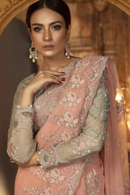 Maria B Embroidered Chiffon Unstitched Saree MB18-E2 04 Best Sellers Restocked Best Sellers