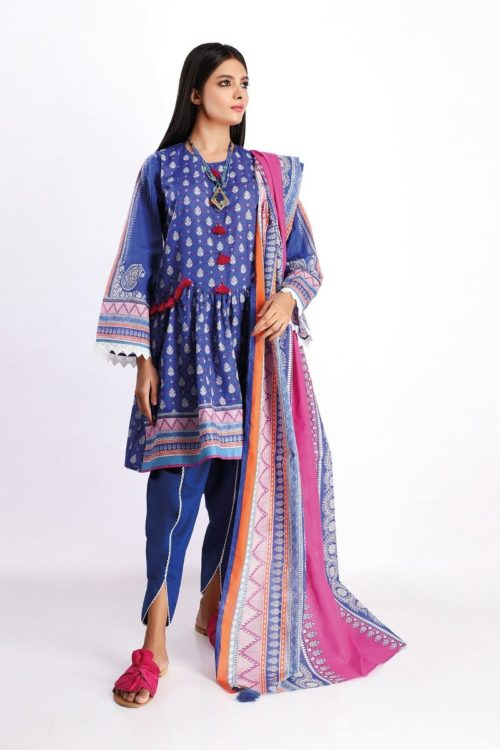 Khaadi Spring Summer 2020 Lawn Suit  – A20112-Blue-3Pc Khaadi Spring Summer 2020 Lawn - Original [tag]