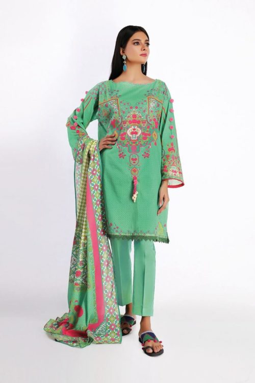 Khaadi Spring Summer 2020 Lawn Suit  – A20123-Green-3Pc Khaadi Spring Summer 2020 Lawn - Original [tag]