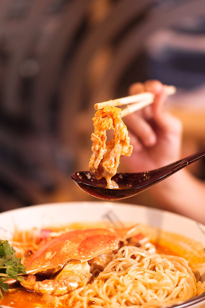 Real crab meat in the chilli crab ramen
