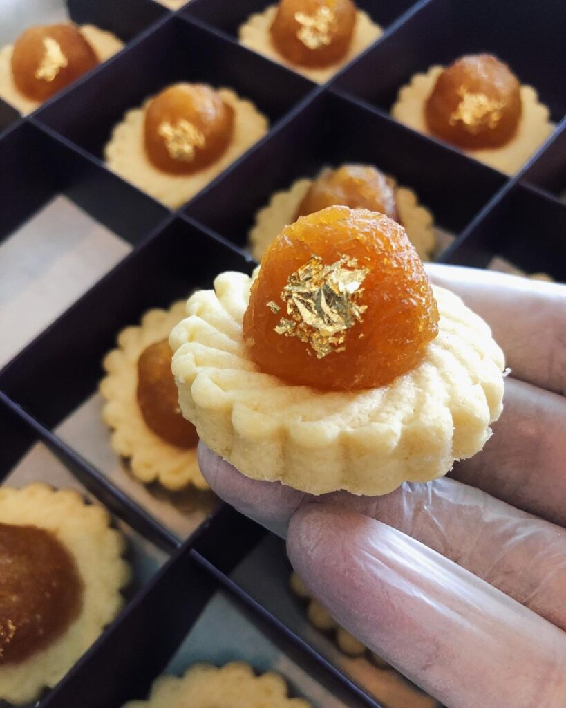 Unconventional pineapple tarts with 24k gold flakes