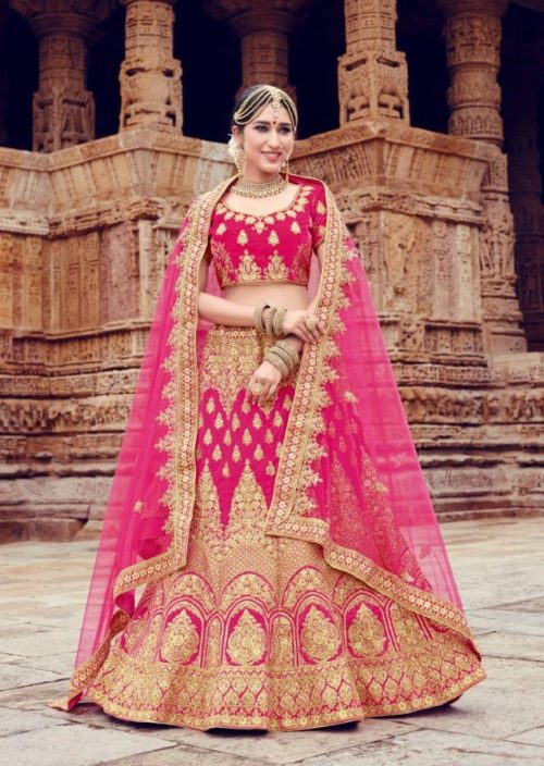 Velvet With Embroidery Lehenga Choli In Pink