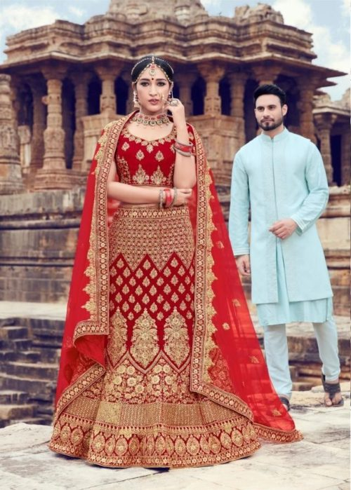 Velvet With Embroidery Lehenga Choli In Red