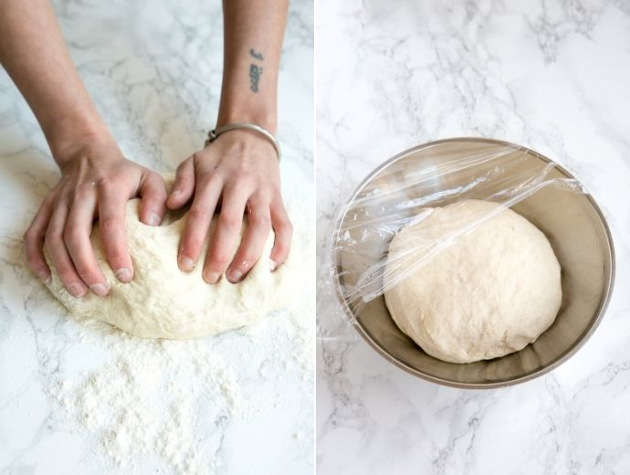 recipe step 3 and step 4: hands kneading the dough in the first picture, dough in a lightly oilved bowl covered with plastic wrap in the second picture.