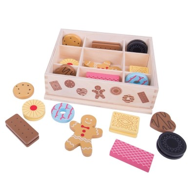 BJ470 Bigjigs Wooden Box of Biscuits Wooden play food 001