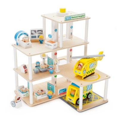 Tidlo General wooden toy hospital open for business