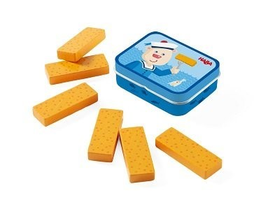 haba wooden fish fingers toy in a tin