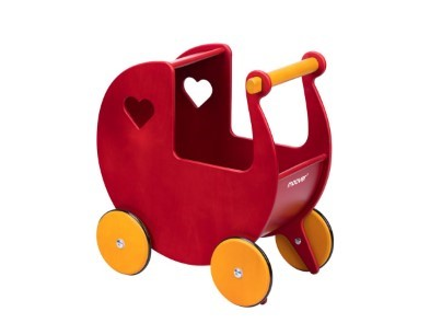 red and yellow moover dolls pram